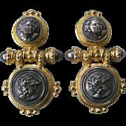 ST TROPEZ 1980s 2 Tone Gold & Silver French Earrings