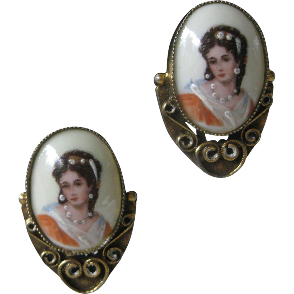 LIMOGES France Painted Cameo Portrait Earrings