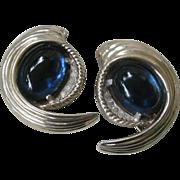 JOMAZ Rare Vintage Blue Glass Stones & Rhinestones Fur Clips