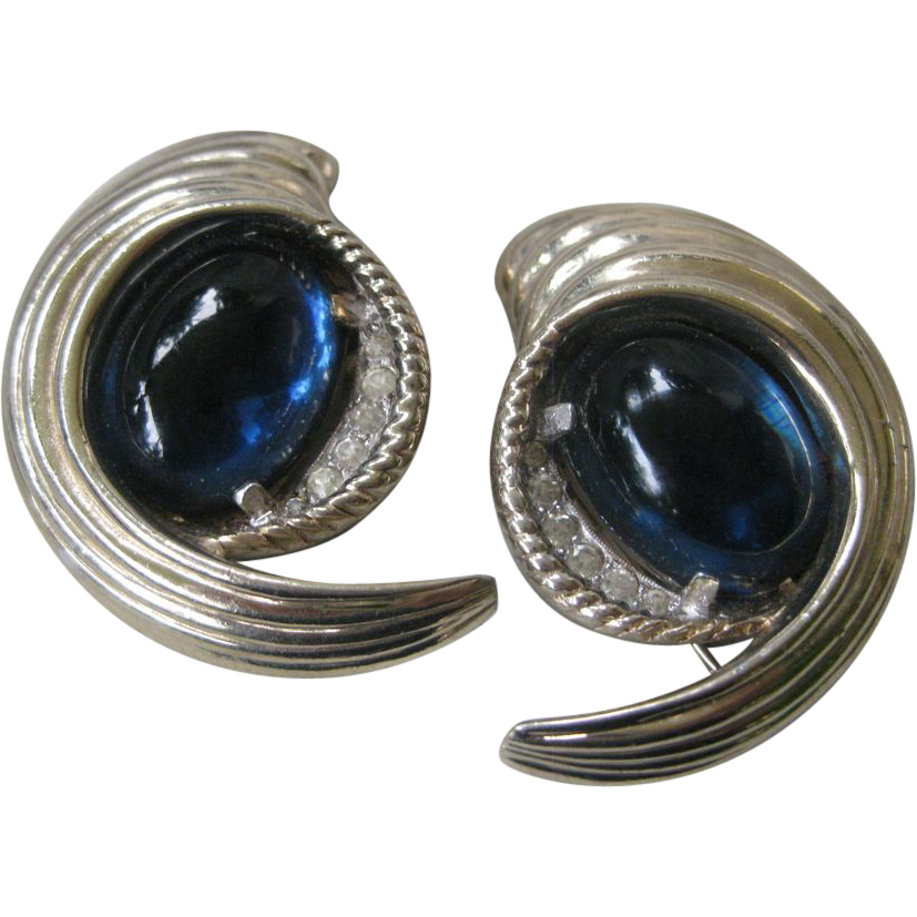 JOMAZ Fur Clips Rare Vintage Blue Glass Stones & Rhinestones