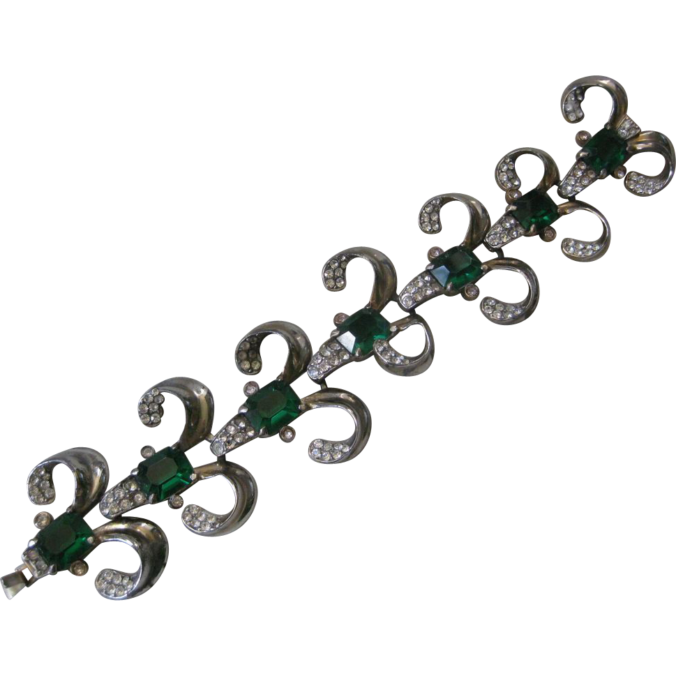 Stunning Vintage Green Glass & Rhinestones Bracelet