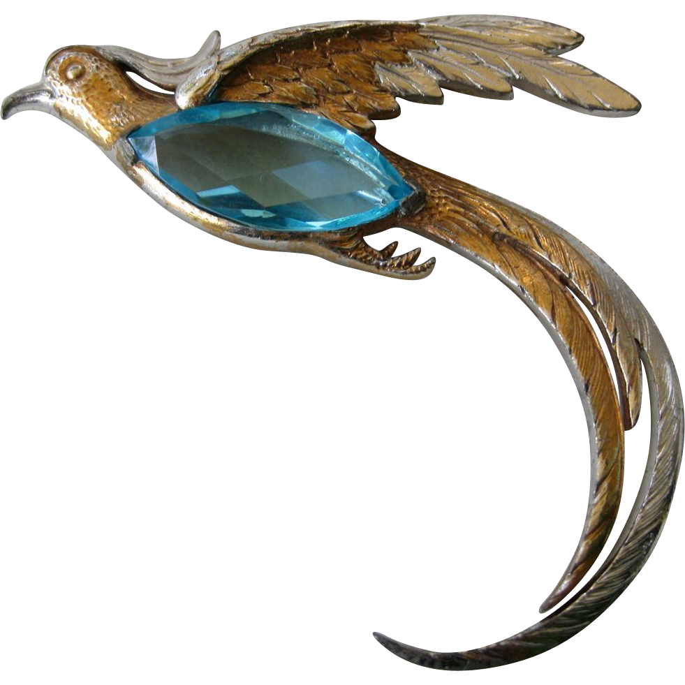 Stunning Large Aqua Glass Vintage Bird Pin Unsigned REJA