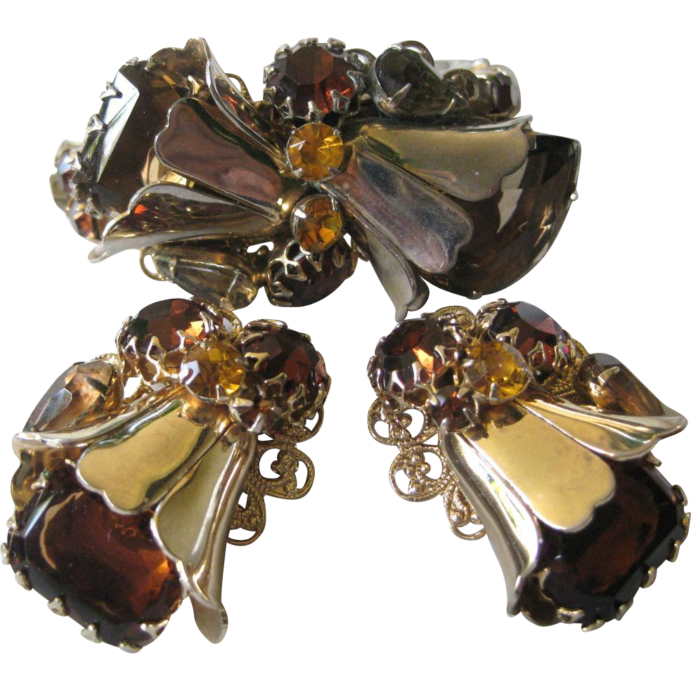 Vintage Glass Stones Cuff & Earrings Demi Parure
