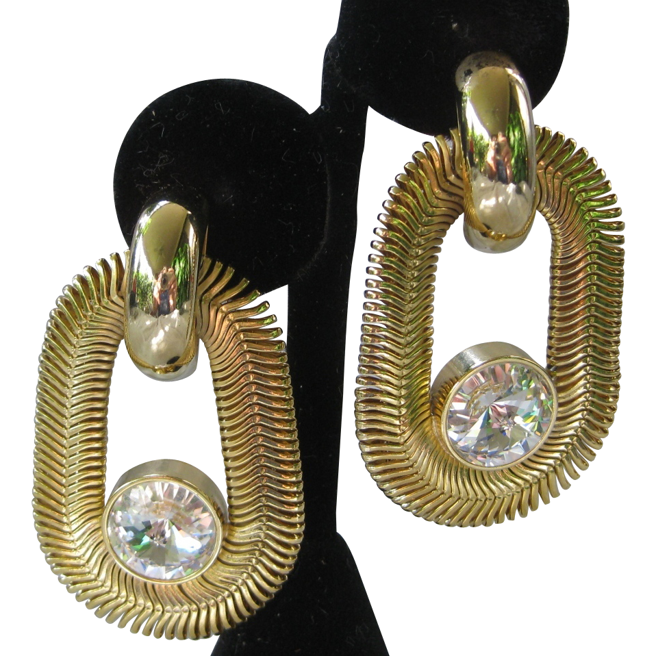 Vintage Unusual Goldtone & Huge Rhinestones Earrings