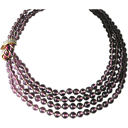 Beautiful Purple French Glass Beads & Enamel & Rhinestones Necklace