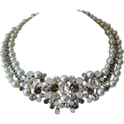 GIVENCHY Glass Pearls & Rhinestones Bib Necklace