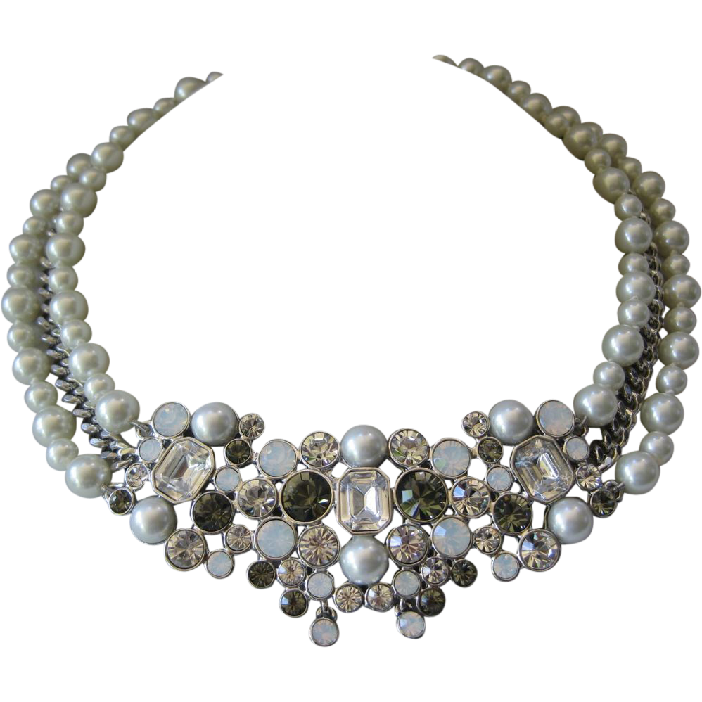 GIVENCHY Glass Pearls & Rhinestones Bib Necklace