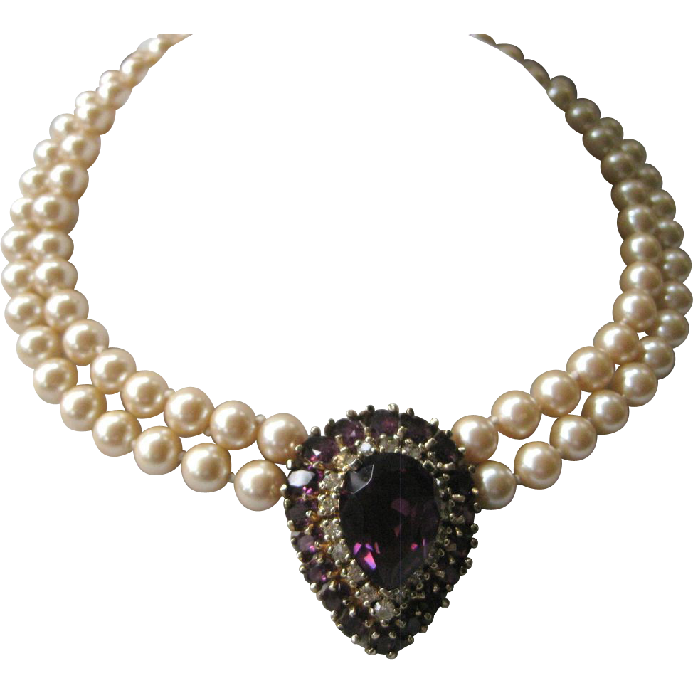 PANETTA Beautiful Purple Glass & Pearls Necklace