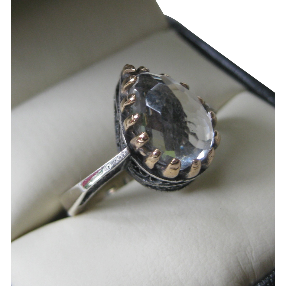 Ornate Sterling Silver and Multi Faceted Clear Teardrop Stone Ring
