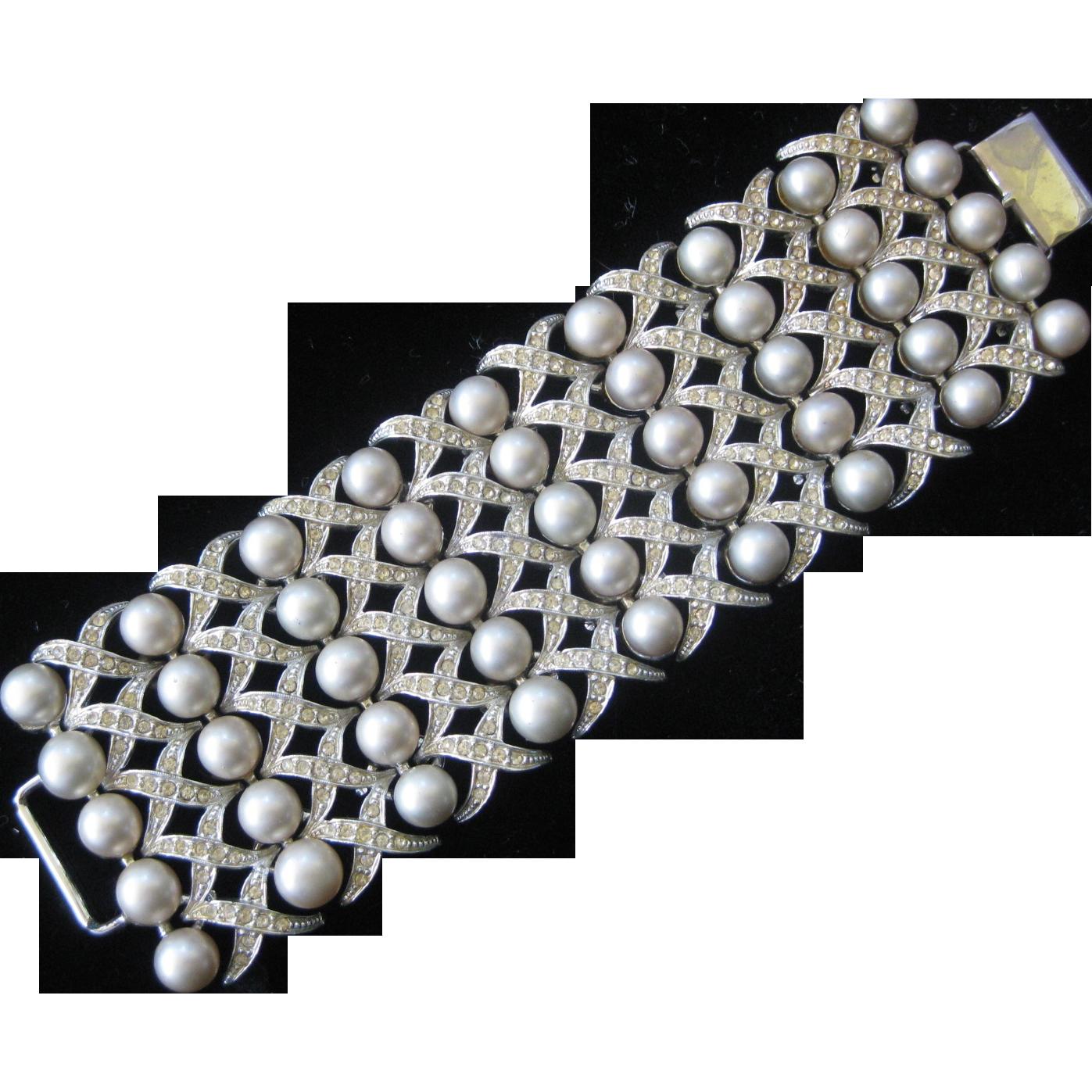 BERGERE Ultra Wide Heavy Vintage Pearls & Rhinestones Xs & Os Cuff Bracelet