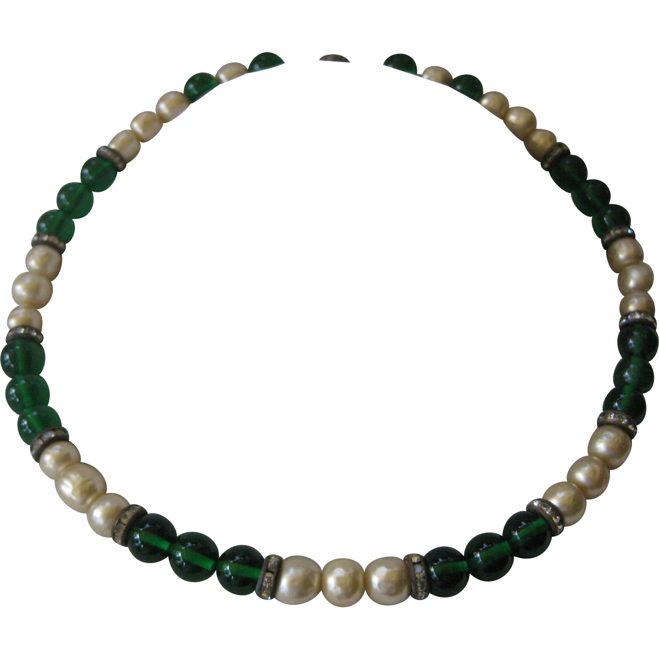 1930s French Art Deco Green Glass & Baroque Pearls & Rhinestones Necklace