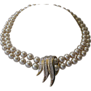 PANETTA Vintage Glass Pearls & Rhinestones Necklace