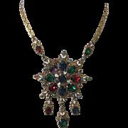 Hungarian Enamel & Stones Dangle Necklace