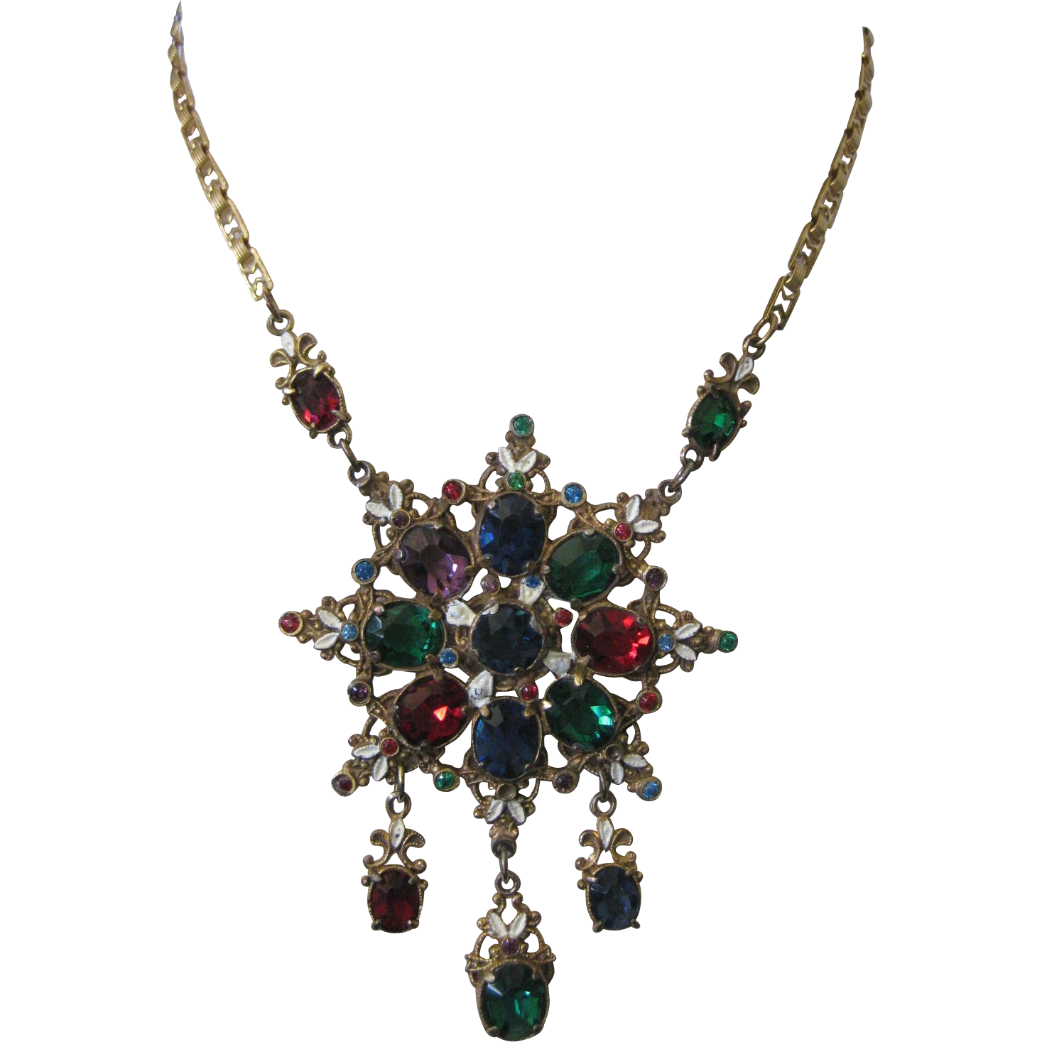 Hungarian Enamel & Stones Dangle Necklace