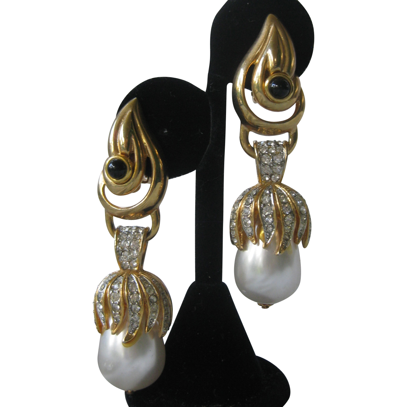 Craft beautiful pearls rhinestones long vintage earrings for Pearl arts and crafts closing