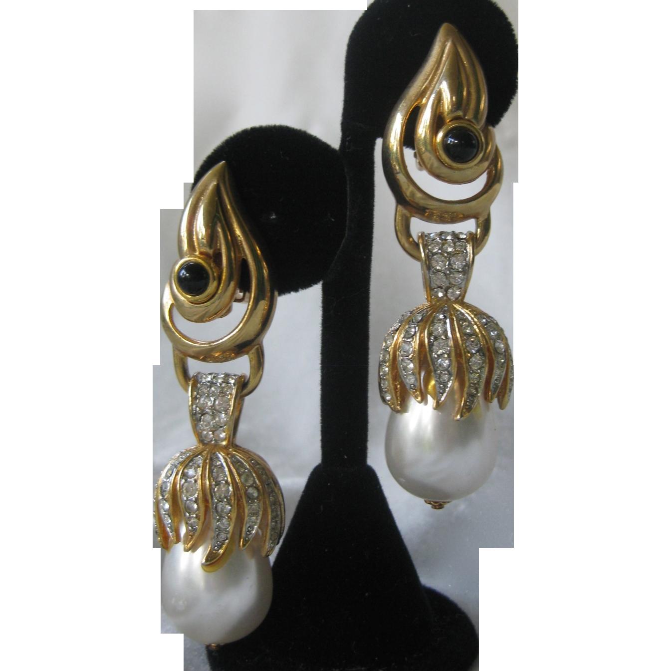 CRAFT Beautiful Pearls & Rhinestones Long Vintage Earrings