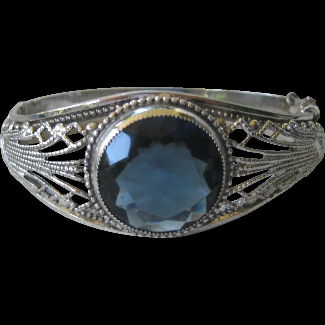 Beautiful Vintage Filigree & Blue Glass Stone Cuff Bracelet