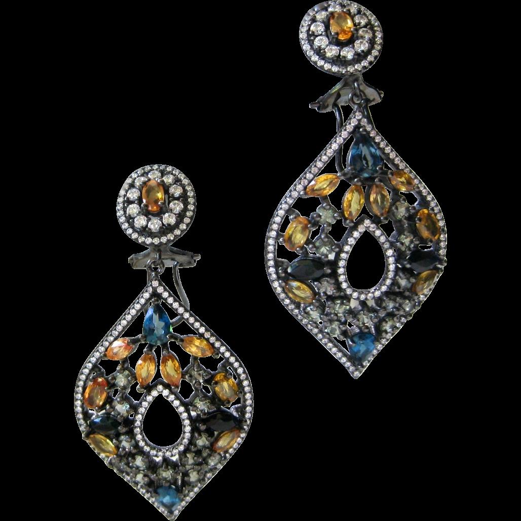 Natural Sapphires & Gemstones 925 Sterling Silver Earrings