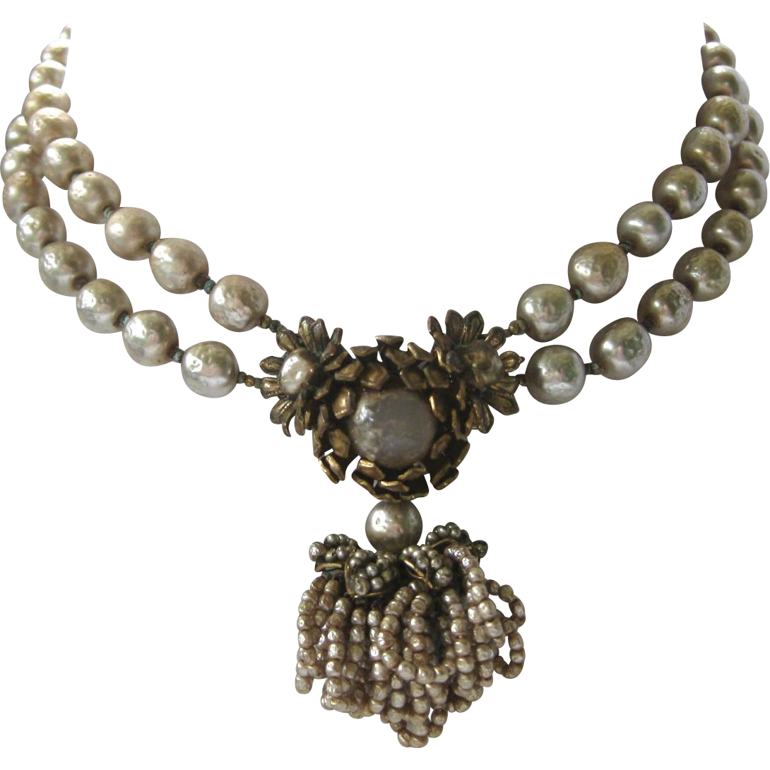 early miriam haskell strand glass pearls necklace