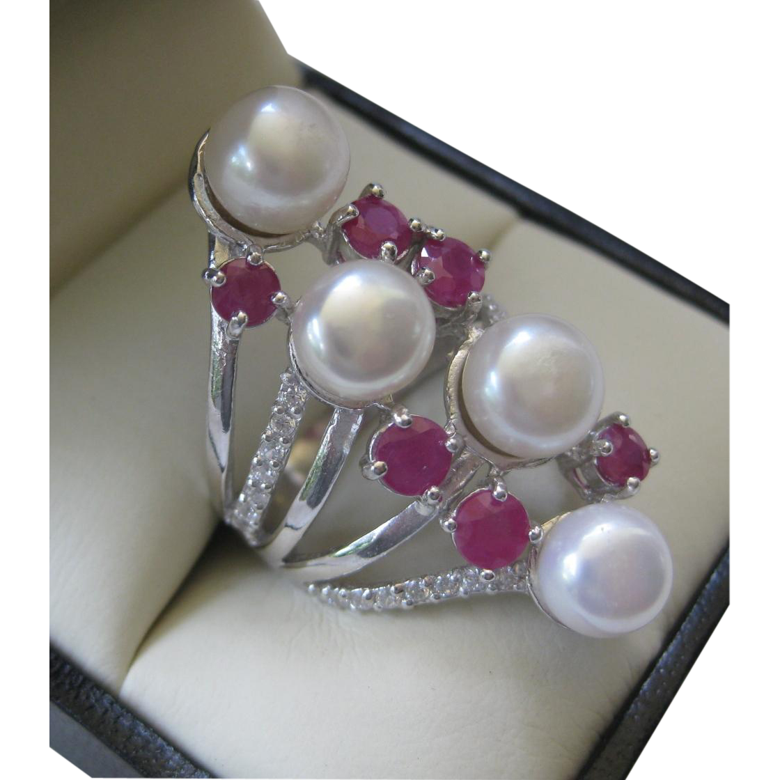 Gorgeous Natural Pearl Raspberry Rubies & Sterling Silver Ring