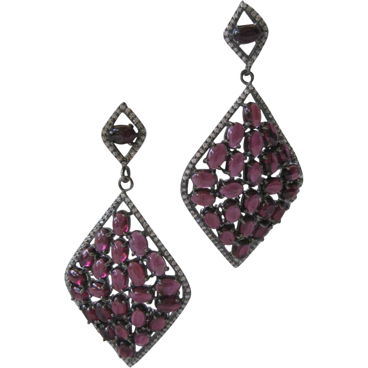 Beautiful Openback Natural Rhodolite Garnets Sparkling Czs Sterling Silver Earrings