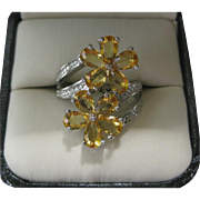 Stunning Citrine & Sterling Silver Flowers Ring