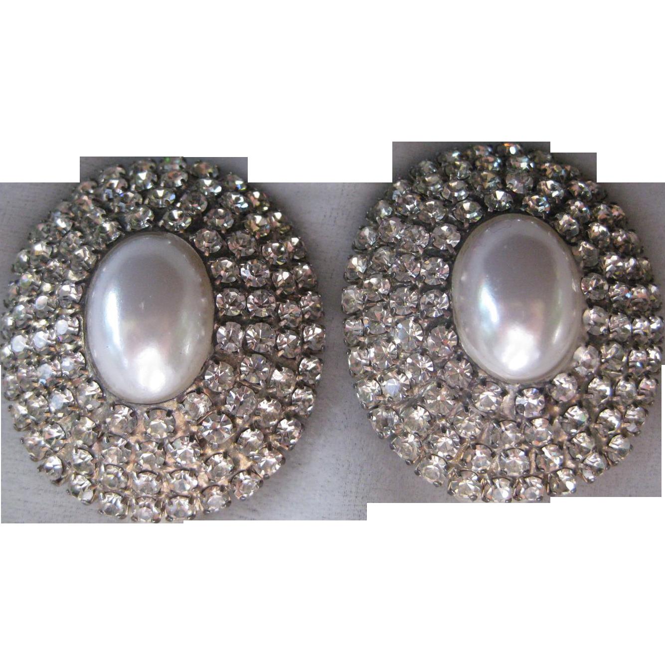 Rhinestone Earrings Vintage 74