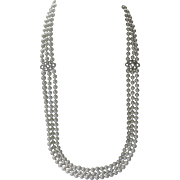 Ralph Lauren Triple Strand Glass Pearls & Rhinestones Flapper Style Necklace