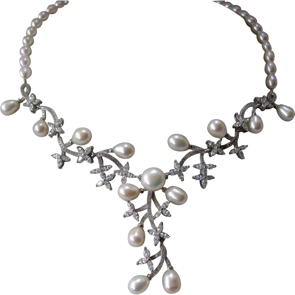 Natural Creamy Pearls With Czs Sterling Silver Floral Necklace