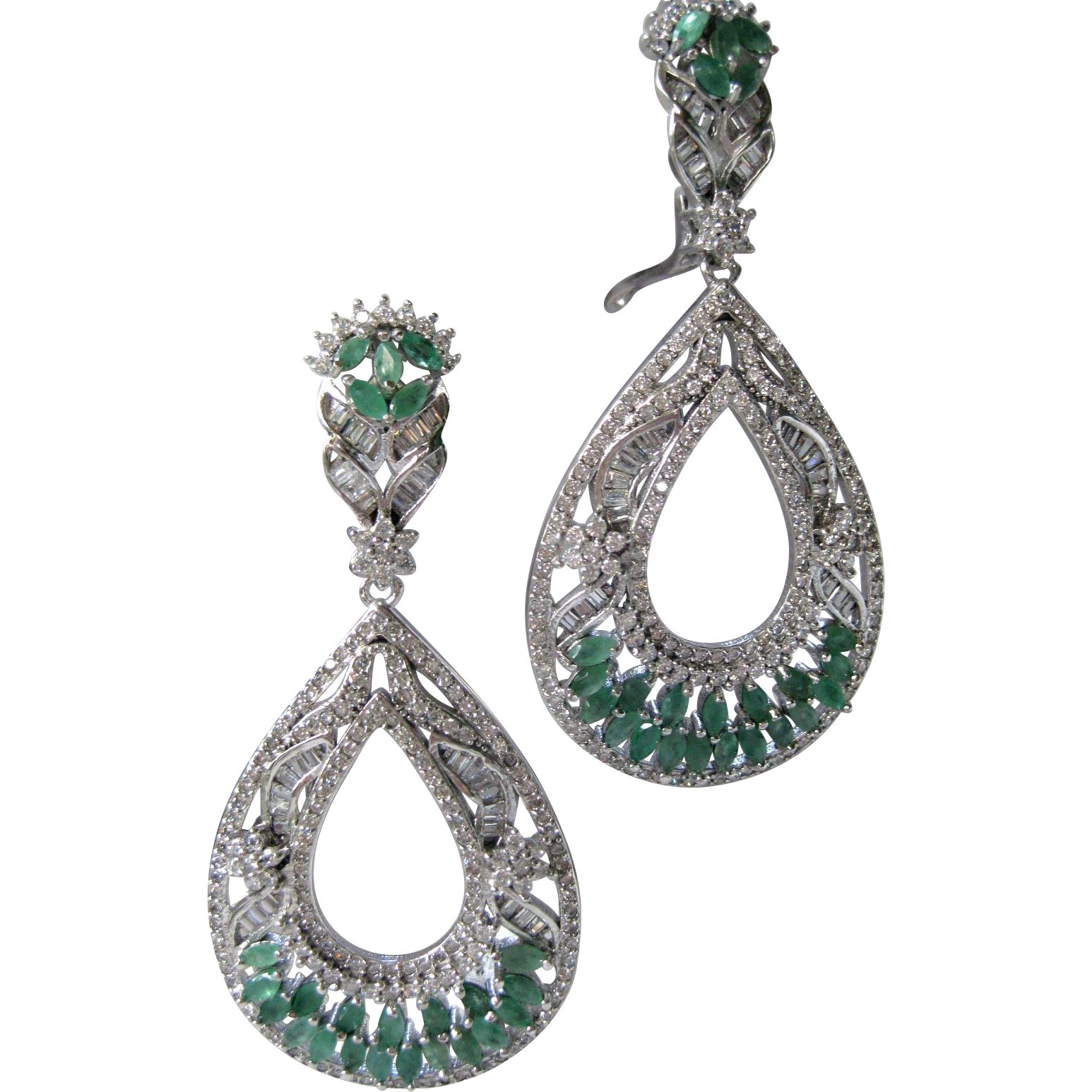 Gorgeous Rich Green Brazilian Emeralds & Czs Sterling Earrings