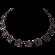 Purple Square Glass Stones Vintage Necklace