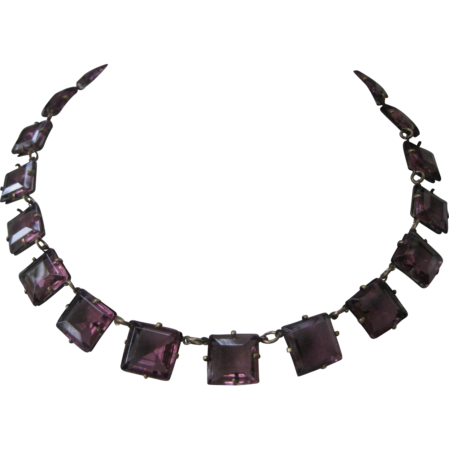 Purple Square Glass Stones Vintage Necklace