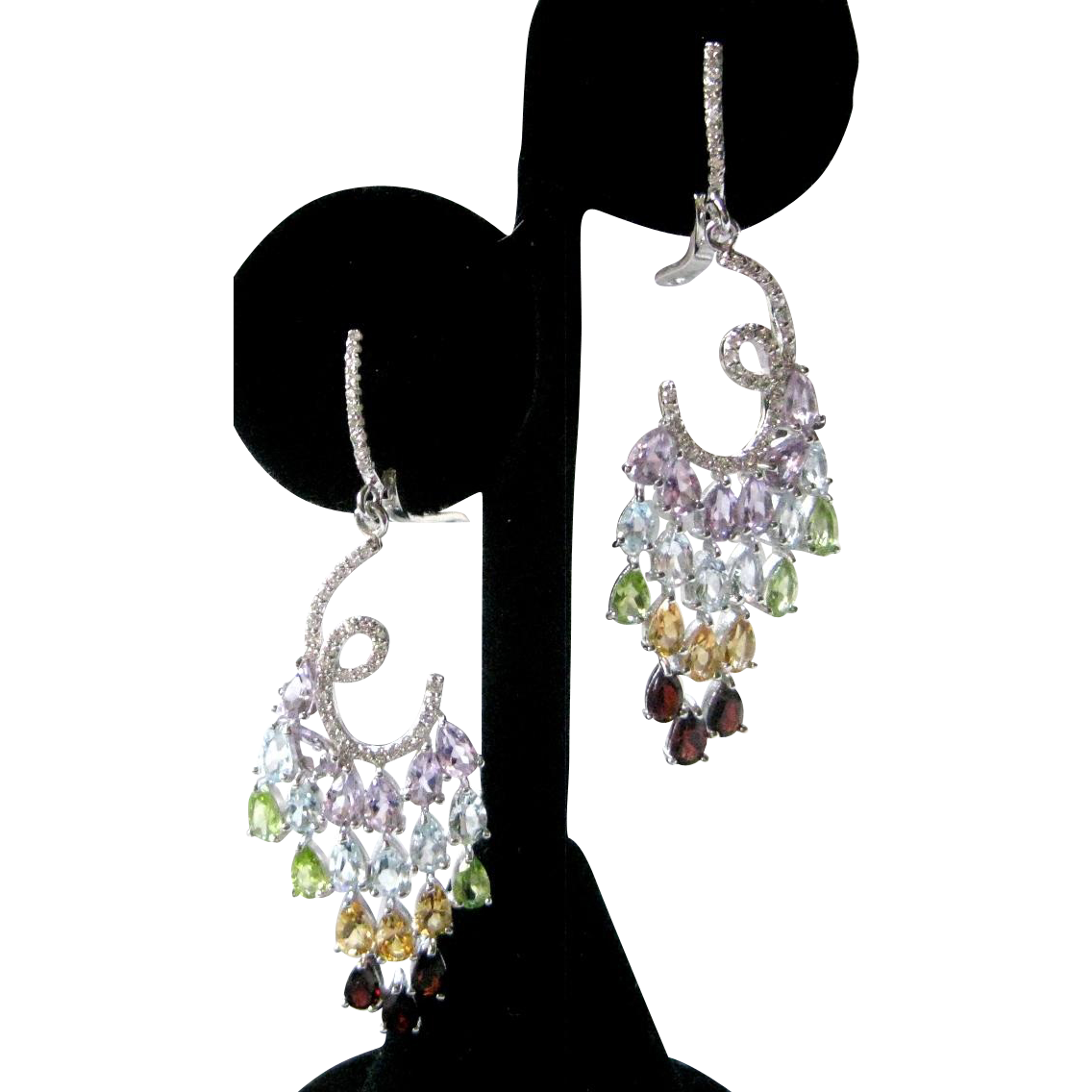 Natural Amethysts, Garnets, Peridot & Citrine Stones In Sterling Silver Earrings