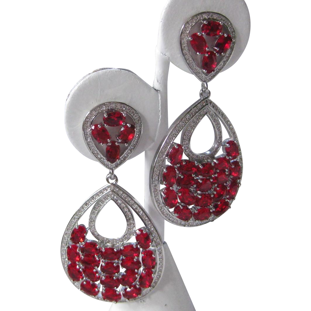 Open Back Large Ruby Red Stones & Cz Stones Sterling Silver Earrings