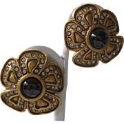 Openback Garnet Glass Stones & Rhinestones Earrings Leslie Block