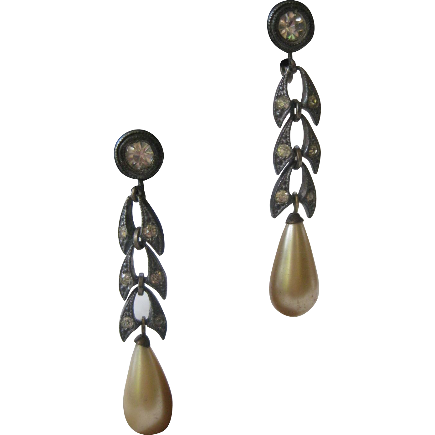 1920 French Paste & Glass Pearls Dangling Art Deco Earrings