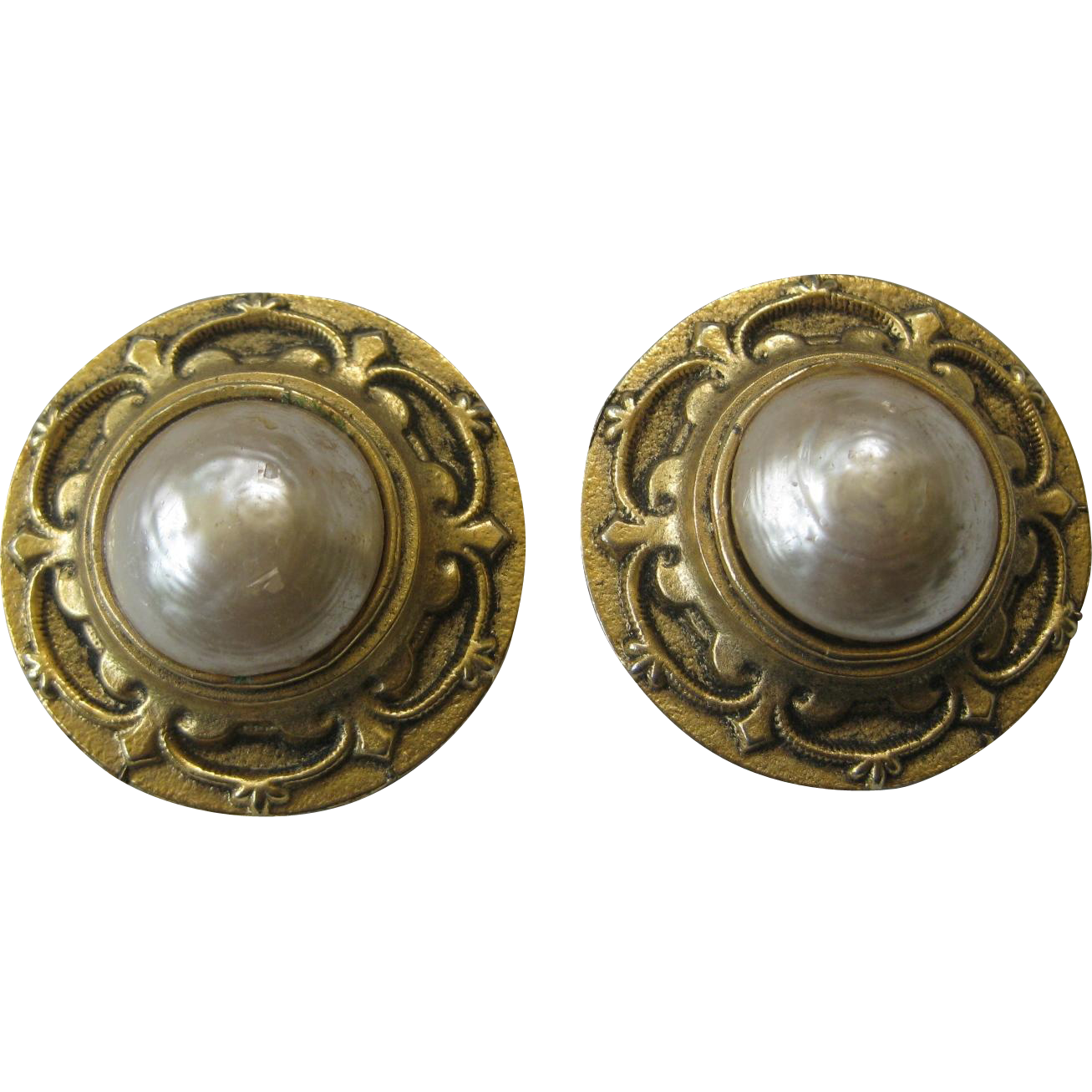 EDOUARD RAMBAUD Paris Gold Tone & Glass Pearl Earrings