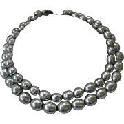MIRIAM HASKELL Double Strand Platinum Glass Pearls Necklace