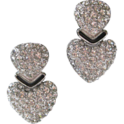 CHRISTIAN DIOR Gorgeous Rhinestones & Enamel Heart Earrings