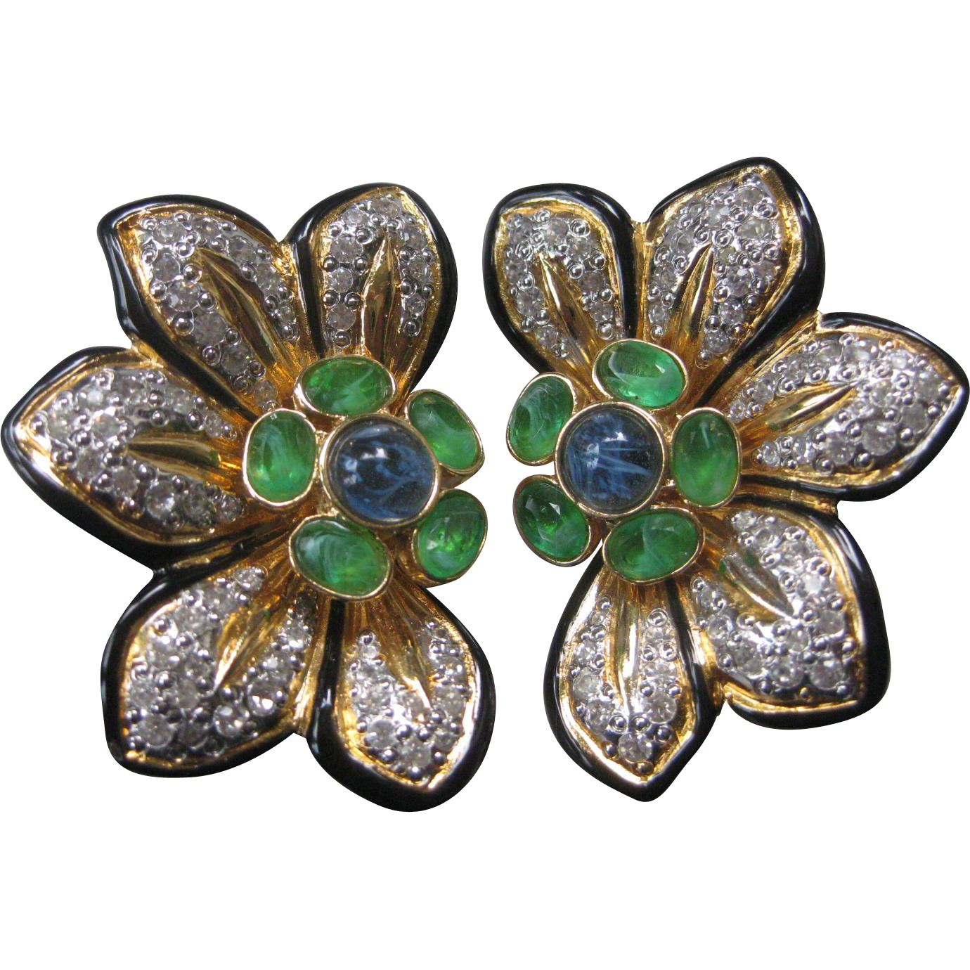 Vogue Bijoux Stunning Marbled Stones Enamel & Rhinestones large Flower Earrings