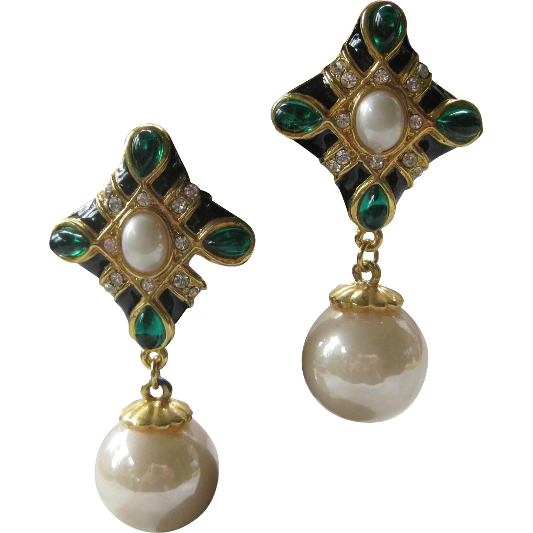 vintage enamel glass pearl drop earrings from rubylane