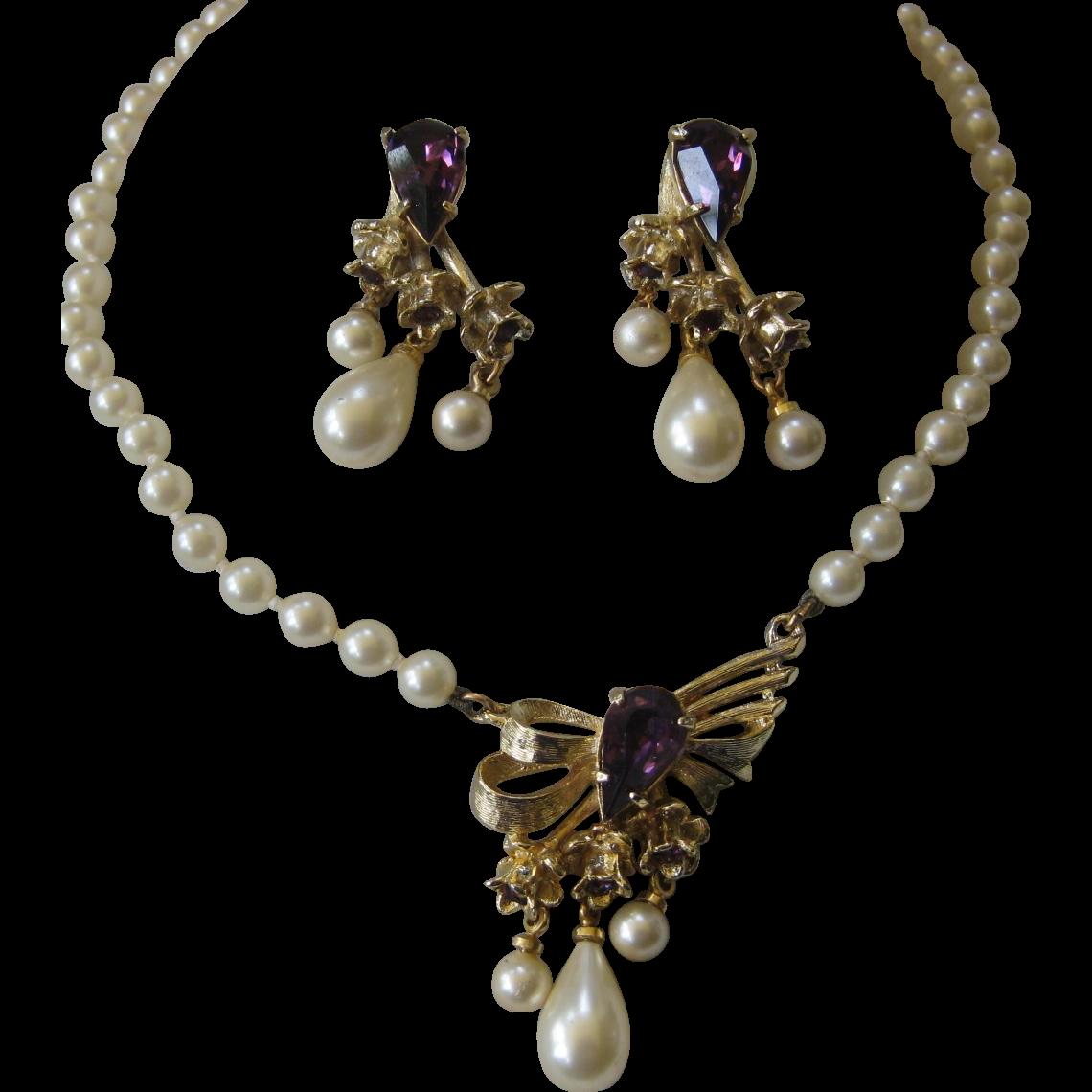 HOBE Delicate Glass Pearls & Amethyst Rhinestones Demi Parure