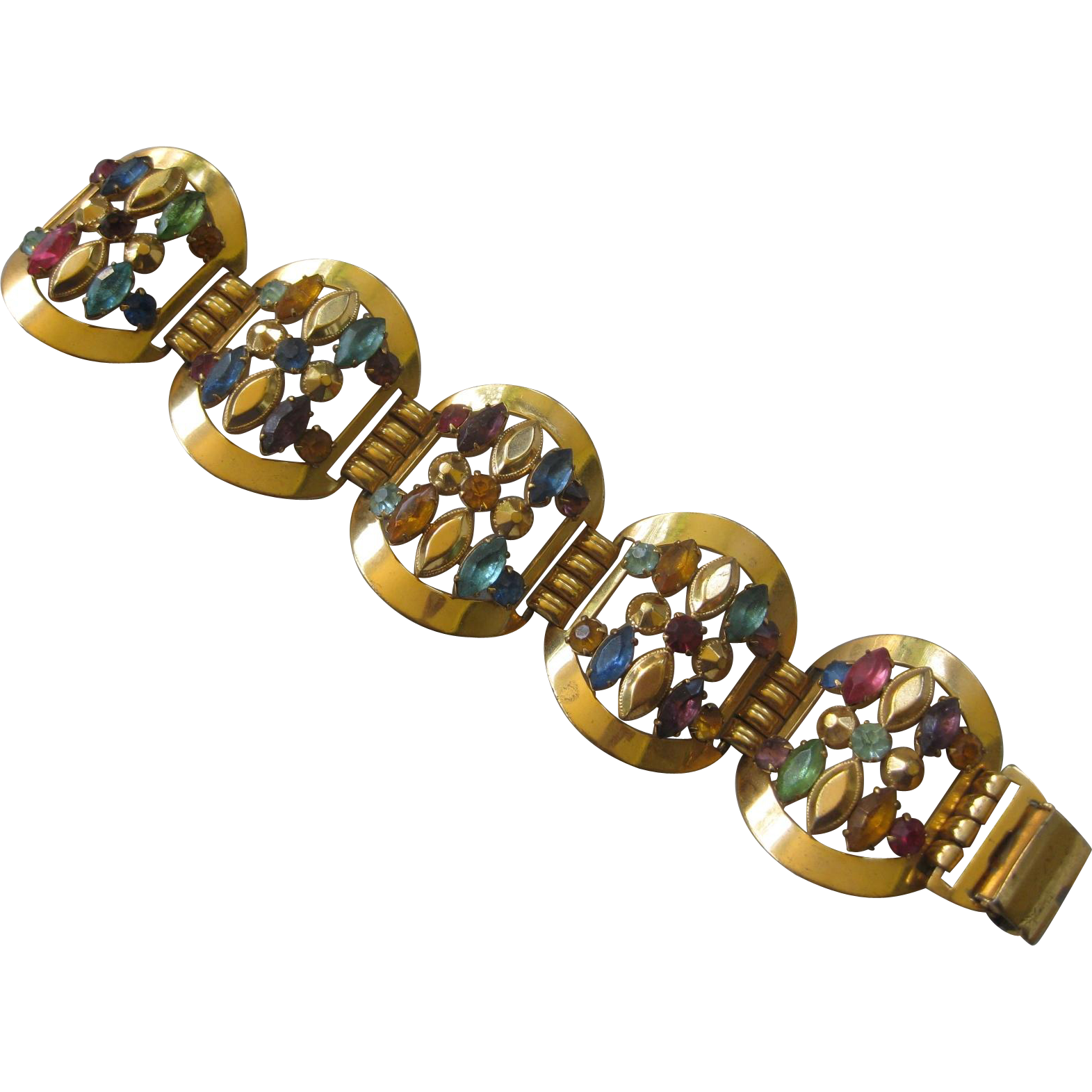 Large STERLING Colorful Rhinestone Vintage Bracelet