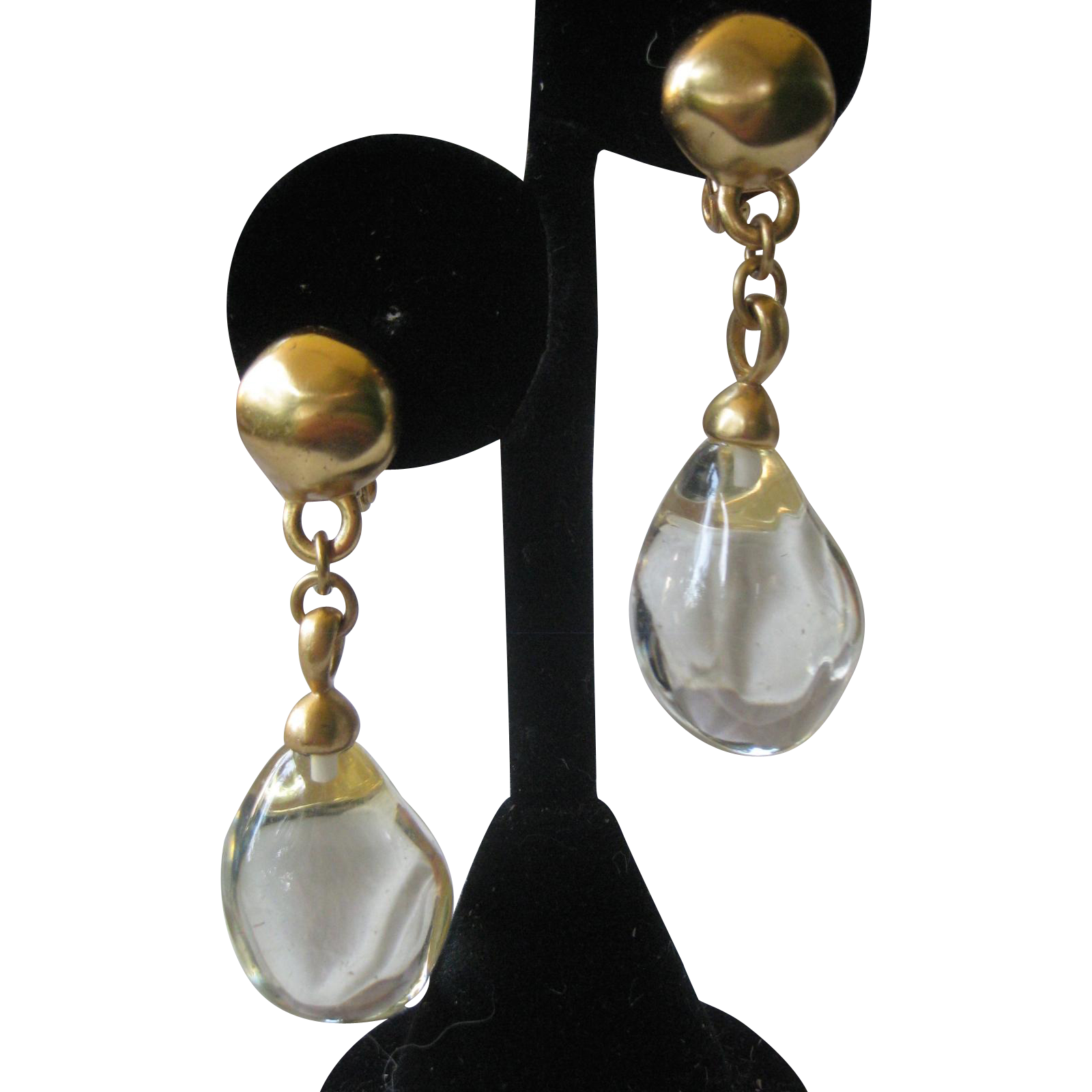 1980 Lucite Drop Vintage Earrings
