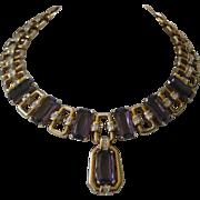 Gorgeous Purple Openback Glass & Rhinestones Large Heavy Necklace Unsigned Boucher