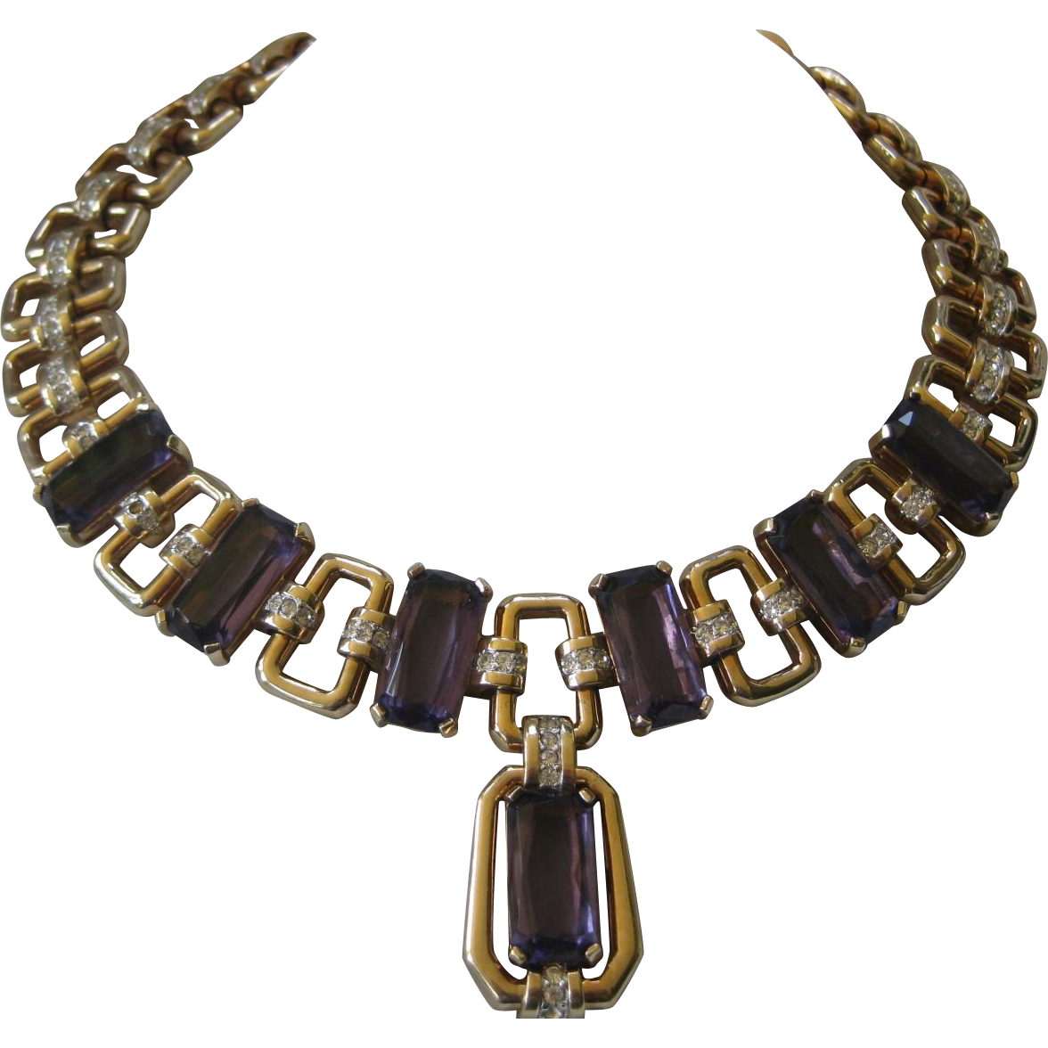 Gorgeous Purple Openback Glass & Rhinestones Large Heavy Necklace Unsigned Boucher