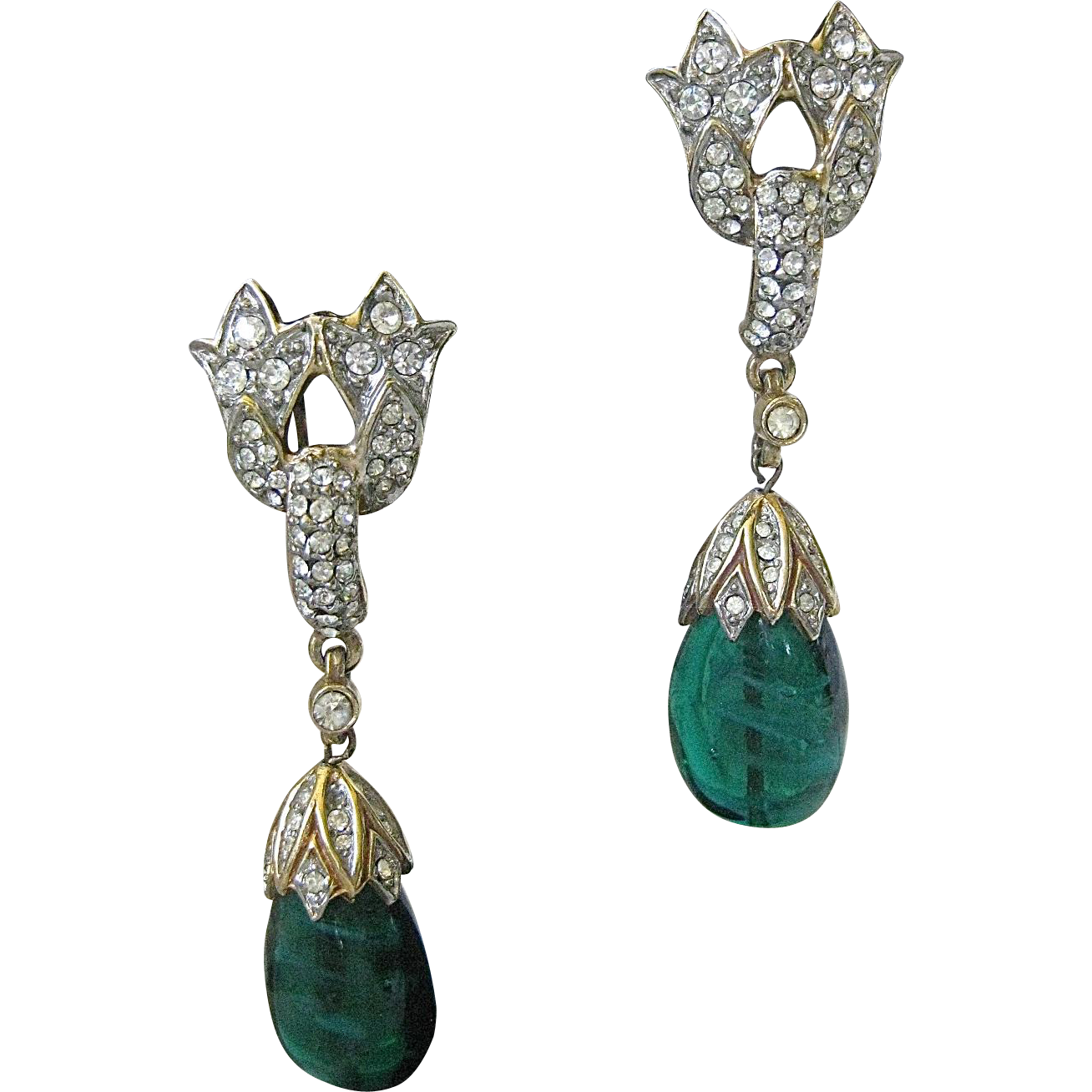 "TRIFARI The Best Of ""Jewels Of India"" Large Marbled Green Glass & Rhinestones Chandelier Earrings"