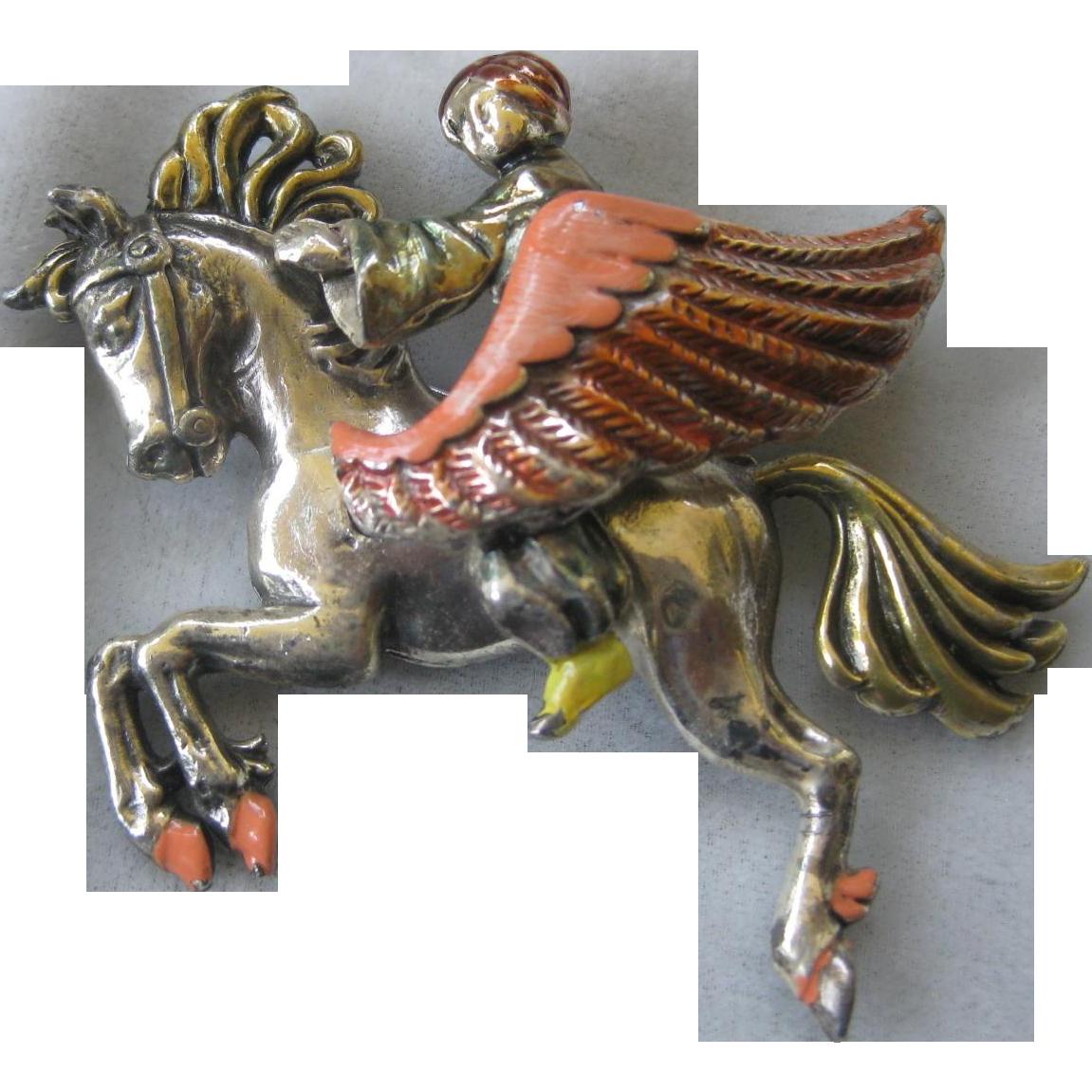 THIEF Of BAGDAD Rare Enamel Thief On A Horse Pin Brooch