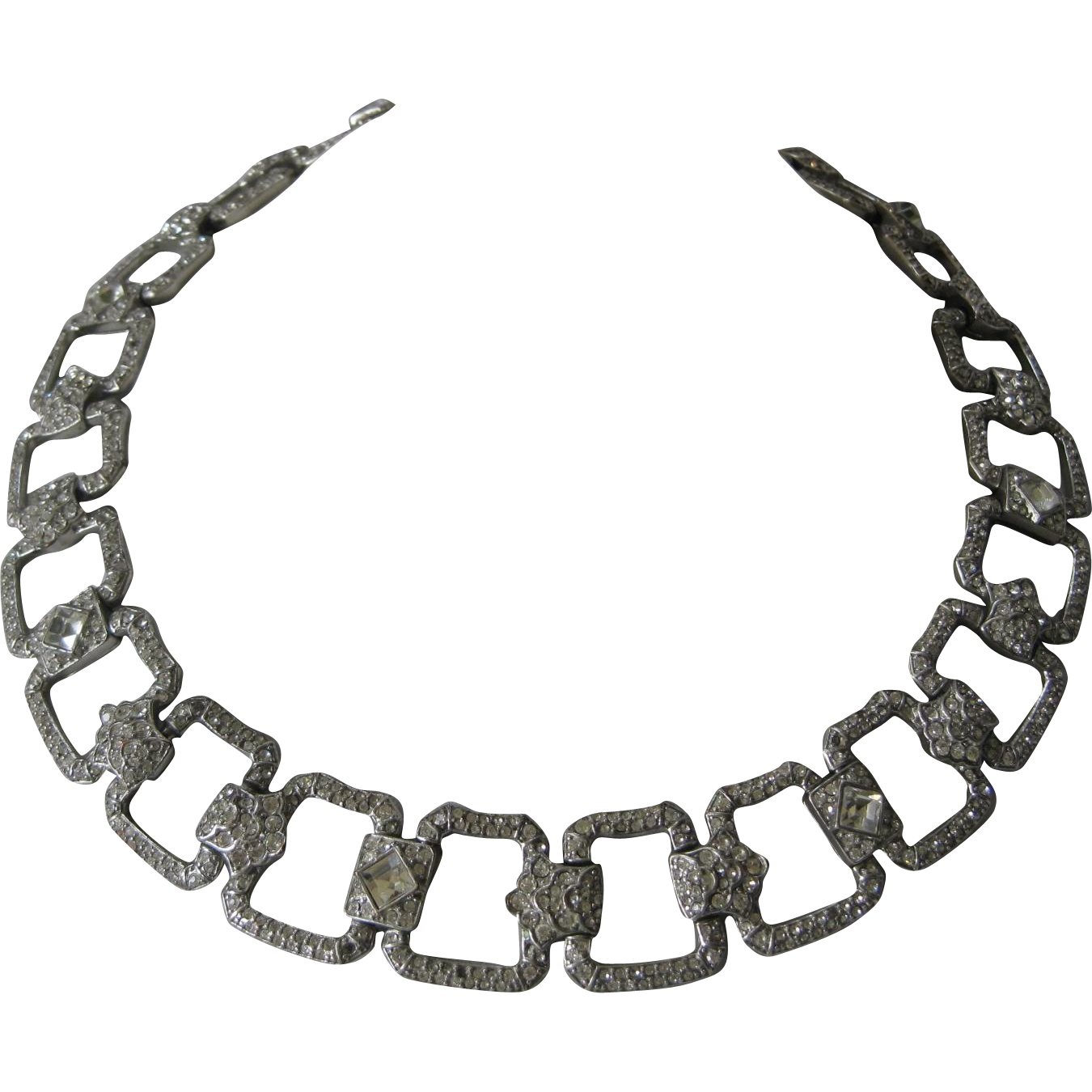 Stunning Intricate Rhinestones Covered Vintage Necklace CAROLEE