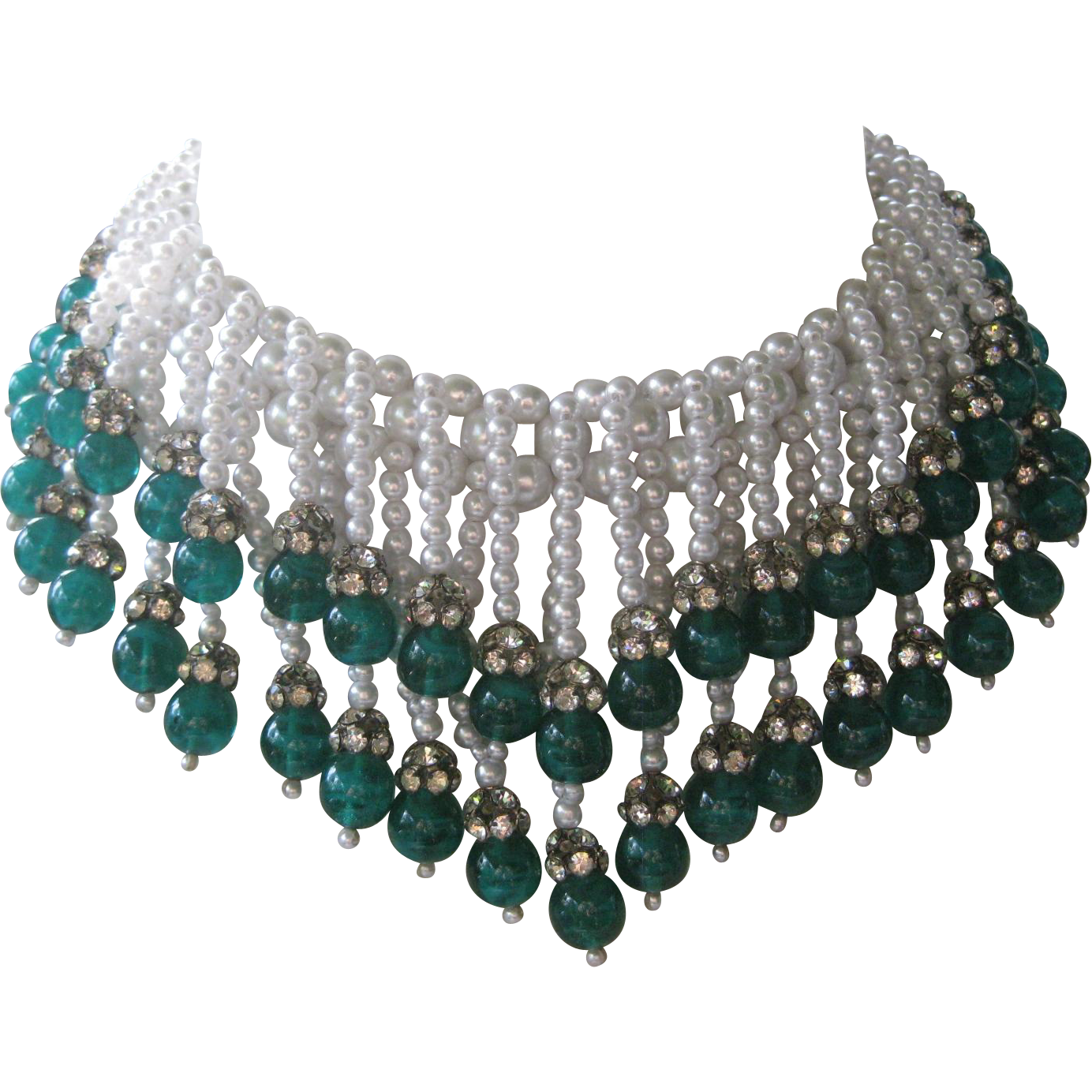 HATTIE CARNEGIE Huge Heavy Marbled Green Glass & Glass Pearls Bib Necklace